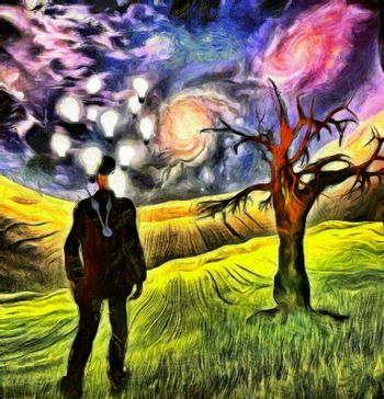 Ideas and time. Man in suit and bowler hat with light bulbs around his head stands on a green field. Old tree and colorful galaxies. 3D rendering