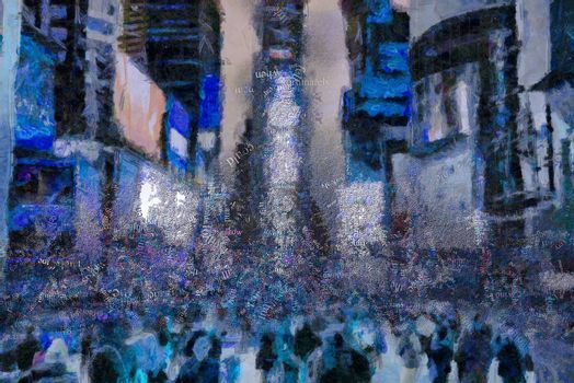 Abstract artwork. Time Square. Words cloud. 3D rendering