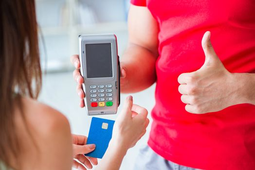 Concept of paying with POS terminal