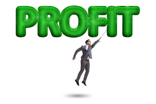 Businessman flying in profit concept
