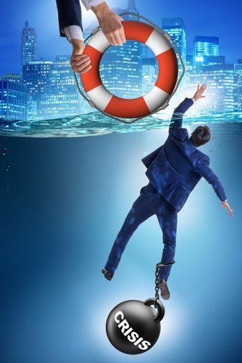 Businessman being saved from crisis