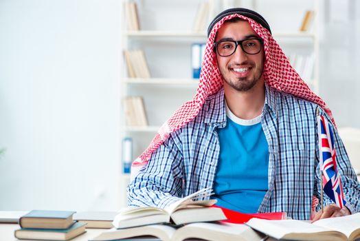 Arab student studying english language