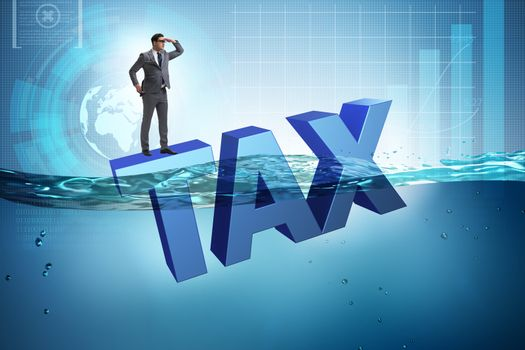 Businessman having problems with paying taxes