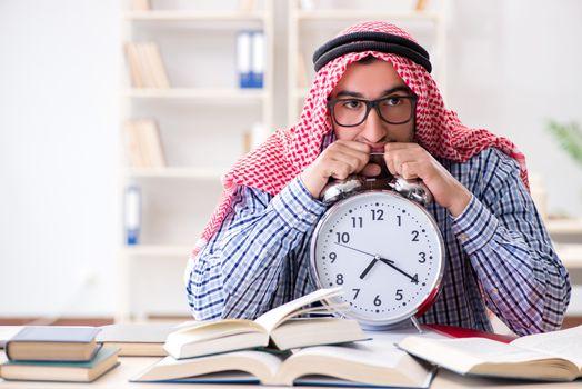 Arab student preparing for university exams