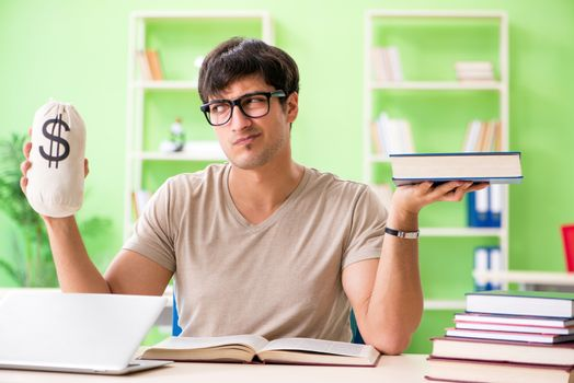 Young student in expensive tuition concept