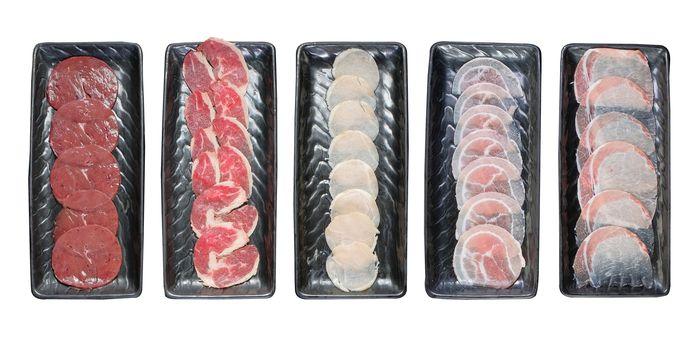 Meat slide set for hotpot on white background