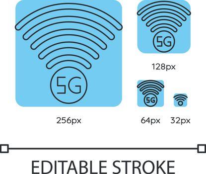 5G signal indicator blue linear icons set