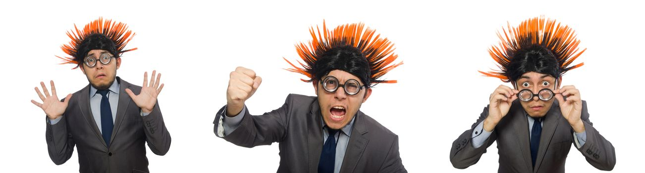 Funny man with mohawk hairstyle