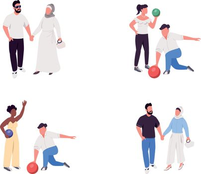 Couple activities flat color vector faceless character set