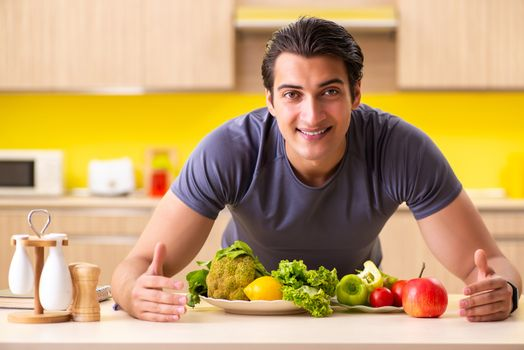 Young man in dieting and healthy eating concept