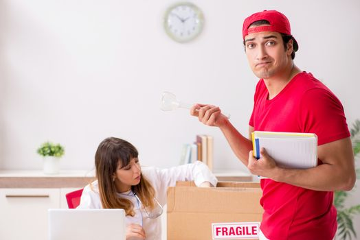 Courier delivering urgent parcel to the hospital