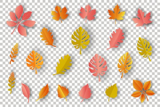 Paper art autumn leaves isolated on transparent background,vector illustration