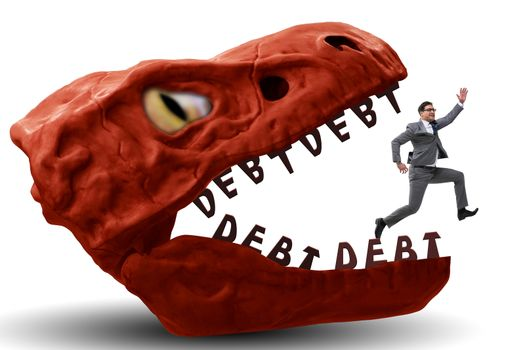 Businessman in the jaws of debt and loan