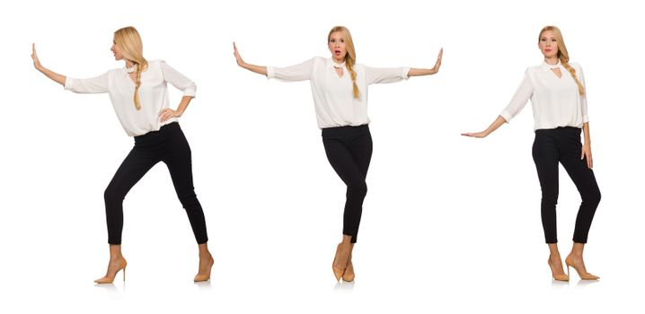 Pretty girl in office attire isolated on white