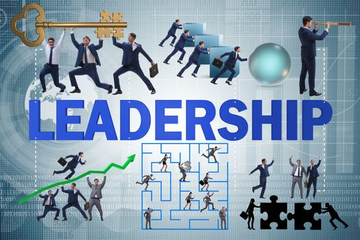 Concept of leadership with many business situations