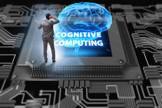 Cognitive computing concept as future technology with businessma