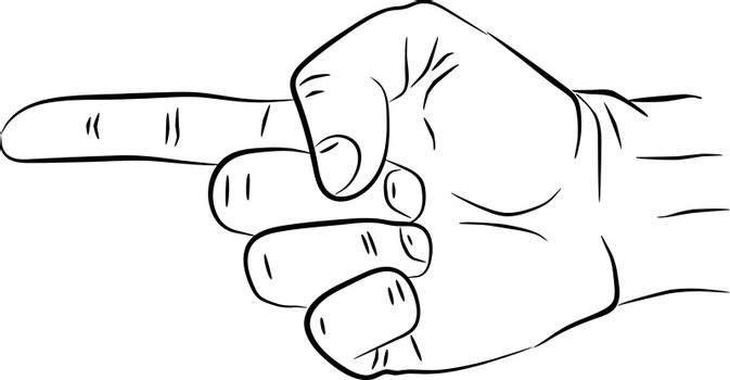 Vector illustration of a hand drawn pointing finger gesture showing direction. EPS