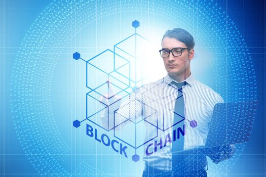 Young businessman in innovative blockchain concept