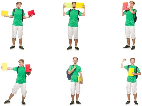 Young student with backpack and notes isolated on white