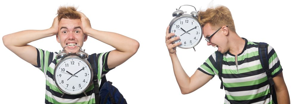 Young student with alarm-clock in time management concept