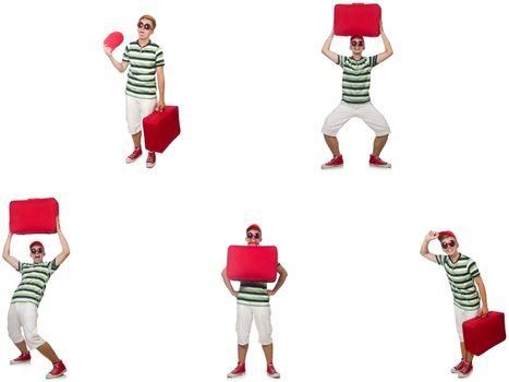 Young man with red suitcase isolated on white