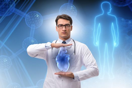 Heart treatment in telemedicine concept