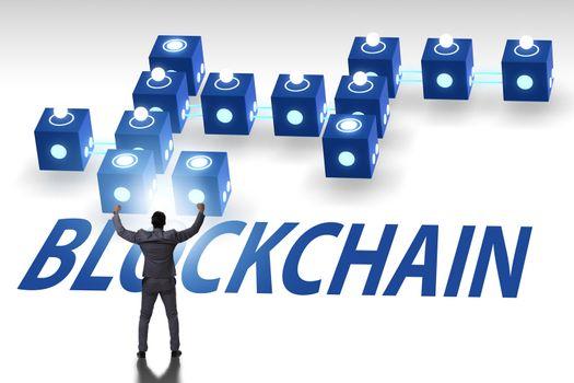 Blockchain innovative concept with businessman