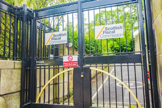 The black metal gates leading to the Scottish Fiscal Commision