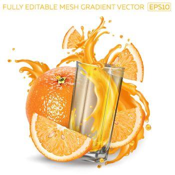 Oranges and a glass of splashing fruit juice.