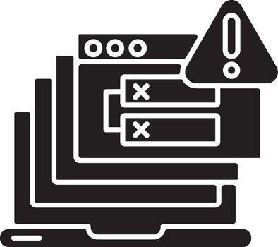 Internal server error black glyph icon