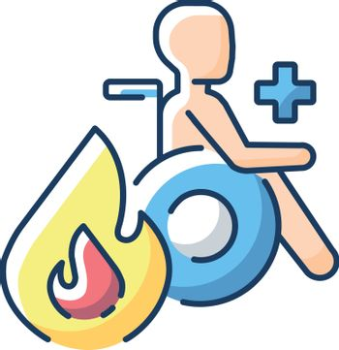 Burn center RGB color icon