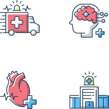 Urgent health care RGB color icons set