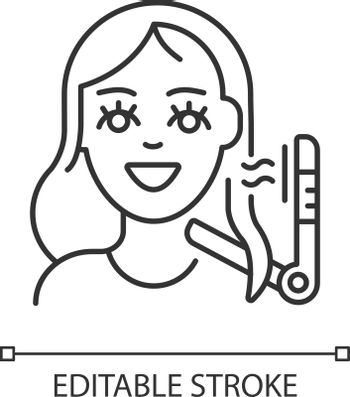 Hair styling linear icon