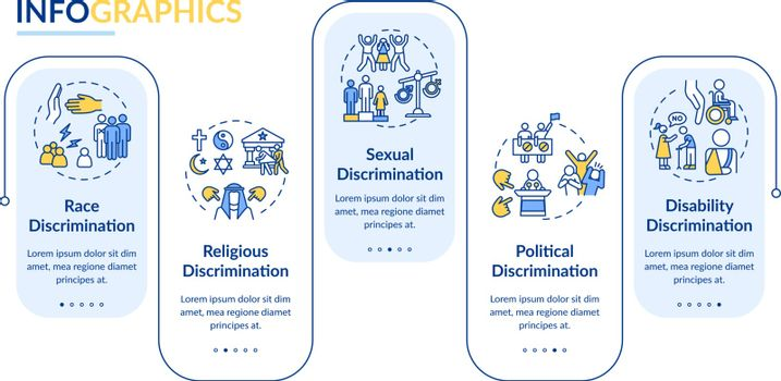 Discrimination types vector infographic template