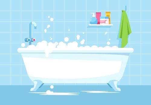 Blue bathroom semi flat vector illustration
