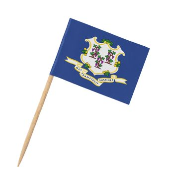 Small paper US-state flag on wooden stick - Connecticut