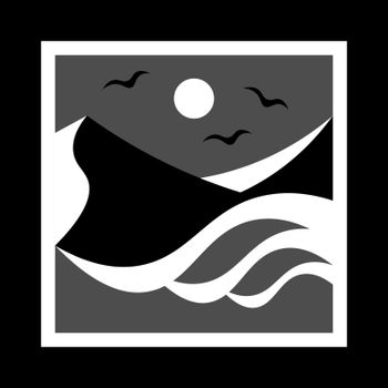 simple monochrome icon with mountains, seagulls, sun and sea waves