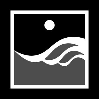 simple monochrome icon with sea waves and moon in black frame
