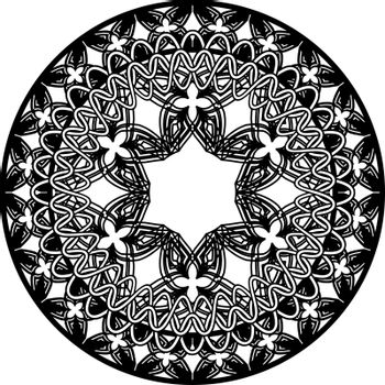 abstract monochrome mandala in tribal gothic style with hexagonal flower