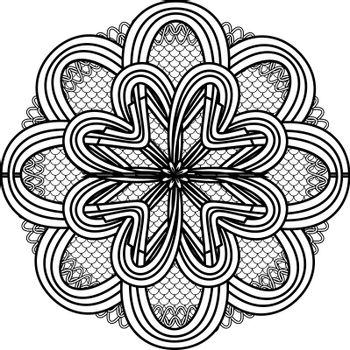 abstract monochrome mandala flower on squama circle for print or tattoo