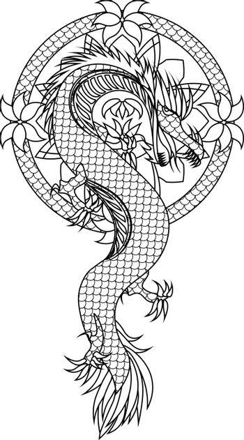asian tattoo sketch with a dragon in the floral circle