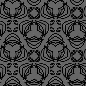 monochrome seamless pattern with black geometric tracery on grey background