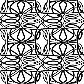 abstract seamless pattern with monochrome entwined black and white tracery