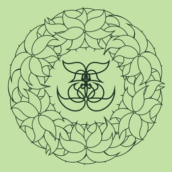 delicate outline abstract floral wreath on green background for natural cosmetics
