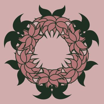 outline pink abstract floral wreath with green leaves for postcard