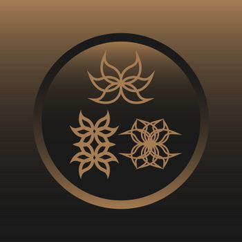 three outline icons with abstract flowers on golden brown background