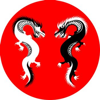 two black and white dragons on red circle in oriental style