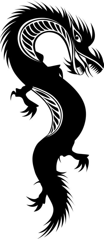isolated black dragon for tattoo or print in oriental style