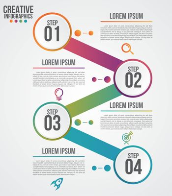 Infographic modern design vector template for business with 4 steps or options illustrate a strategy. Can be used for workflow layout, diagram, annual report, web design.