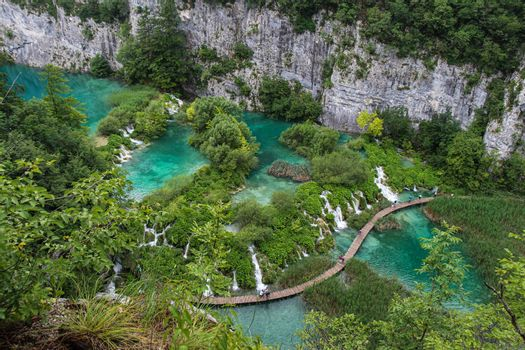 A view over a series of lakes and waterfalls at Plitvice Lakes, Croatia